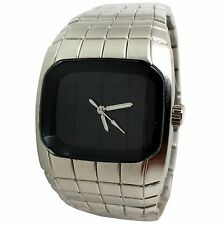 MONTRE UNISEXE HOMME FEMME CUBE CARRE POP ART FUTURE ARGENT ICE CHROME MATRICE