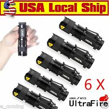 Ultrafire 6PCS CREE LED Flashlight Torch 7W 6000LM Adjustable Focus Zoom Light