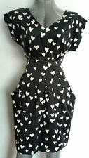 CLOSET heart print midi dress with pockets size 10 black / white NEW WITH TAGS
