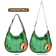 New Chala Hobo Crossbody Large Tote Bag HORSE Pleather TEAL GREEN Convertible