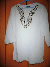 """- """"Adrienne Vittadini""""Tunic Top/Blouse-Off Of White -Embellished-Linen -12"""