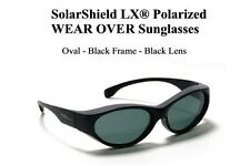 Oval Fit Overs Solar Shield Polarized Sunglasses Black/Smoke Wear Over Glasses