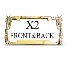 2 FrameS FOR FRONT & BACK PALM TREE TREES GOLD Metal License Plate Frame NEW