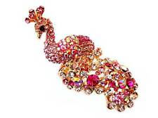 PEACOCK Phoenix Feather Golden Tone RING Pink Rhinestone Crystal Sz 6