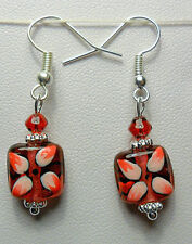 Dangle earrings - red glass square drops 39mm