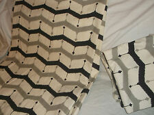 PAIR OF (2) WEST ELM UNLINED PANELS CHEVRON ZIG ZAG STRIPED BLACK/GRAY ON IVORY