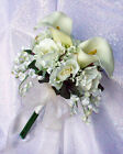 IVORY CREAM Hand Tied Bridal Bouquet Roses Calla Lilies Silk Wedding Flowers New
