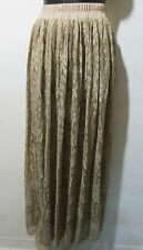 Skirt Fits XL 1X 2X Plus Maxi Length Full Lace Lined Stretch Tan Soft NWT 6003