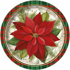 Pack of 8 Poinsettia Plaid Paper Plates - 23cm - Christmas Party Tableware