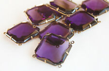 VINTAGE AMETHYST PURPLE GLASS 4 HOLE SQUARE OCTAGON BEAD 22mm (ONE BEAD)