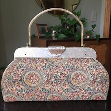 50s Tapestry Handbag Lucite Handle Pearlized Purse Doctor Bag Floral 1950s NY
