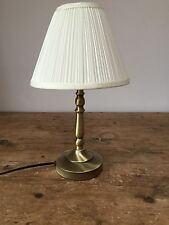 "VINTAGE 20thc MODERN ANTIQUED BRASS LAMP WITH SHADE   8"" X 14"""
