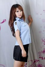 Sexy Lingerie cosplay Police Cop Uniform Costume Blue