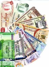 Complete SET Guyana 1;5;10;20;50;100;500;1000;5000 dollars ND (1966-2016) UNC