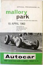 Mallory park 15th avril 1963 motor racing programme officiel