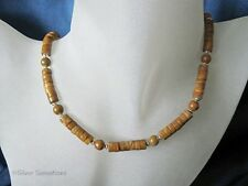 Tan Brown Gold Lace Agate Tube Beads & Sterling Silver Unique Unisex Necklace