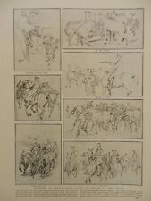 1914 EQUINE SKETCHES OFFICER AT THE FRONT; FRENCH AFRICAN TROOPS MARNE WWI WW1