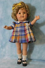 """Ideal 13"""" Shirley Temple in Original """"Bright Eyes"""" Tagged Plaid Dress c.1934"""