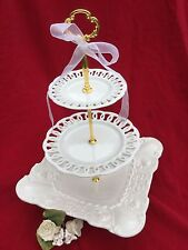 White Wedding Cake Stand 3 Tier Serving Tray Pierced Plate Italian Platter 2 in1