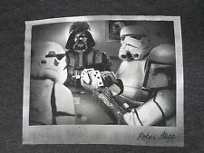 STAR WARS - DARTH VADER & STORM TROOPERS PLAYING POKER - LARGE GRAY T-SHIRT A297