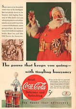 Coke Coca Cola Christmas Santa Claus Advertisement Ad 1934 Vintage Print Matted