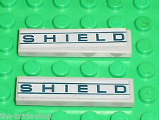 2 x LEGO  Marvel Super Heroes MdStone Tile ref 2431 + stickers SHIELD / Set 6867