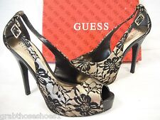 Guess  Size 8  Gold Black Open Toe Heels New Womens Shoes