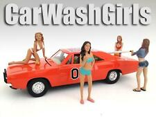 CAR WASH GIRLS FIGURE SET OF 4PC 1:18 SCALE DIECAST MODELS BY AMERICAN DIORAMA