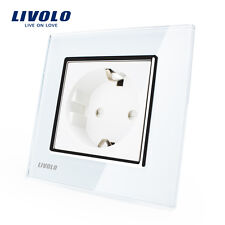 Livolo Power Socket White Crystal Glass Panel, AC 110~250V 16A Wall Power Socket