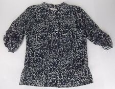 Ann Taylor Loft Tunic Top Small Purple Black Print 3/4 Sleeve