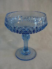 Indiana Glass Blue Diamond Point Compote Candy Dish On Pedestal