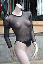 Zack Londn 8-10 Petite Black Sexy Fishnet Stretchy L / Sleeve BODY Top FREE Post