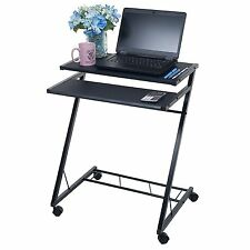 Compact Rolling Laptop Table Stand Cart Space Saving Desk Bed Dorm Hospital -PC