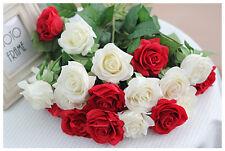 Vero tocco di umidità ROSE (1-testa) x 6-fiori artificiali - 9 colori disponibili