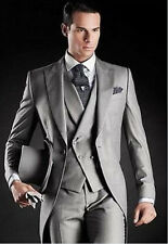 Beautiful Light Grey Morning Suits Groom Tuxedos Suit Jacket+Pants+Vest Tailcoat