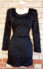 LE BLOSSOM BLACK HAIRY FAUX FUR FLUFFY TASSLE TEDDY TUBE BODYCON PARTY DRESS 8 S