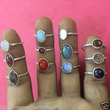 Wholesale 12-Psc Lot 925 Sterling Silver Plated Multi Gem Stone Ring CH150