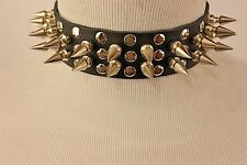 "Leather 1"" Spike and Stud Choker Collar Goth Punk Metal Thrash Rock"