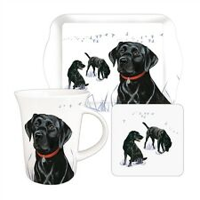 Labrador Dog Tea Time Gift Set.  Black Lab Mug, Biscuit Tray & Coaster. FREE P&P