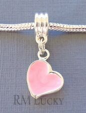 Pink Pendant HEART Silver plated Large hole bead Fit European Charm Bracelet C31