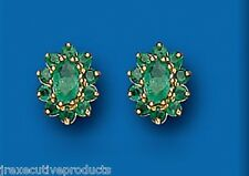 Yellow Gold Real Emerald Oval Cluster Stud Earrings British Made - Hallmarked