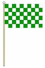 """GREEN AND & WHITE CHECKERED 18"""" x 12"""" LARGE HAND WAVING COURTESY FLAG & POLE"""