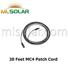 20 FT Solar Panel Extension Cable 10 AWG PV Wire Male Female MC4 Connector UL