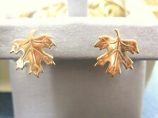 LQQK Gorgeous 14k Russian Rose GOLD Maple Leaf Stud Earrings Ladies Must See!
