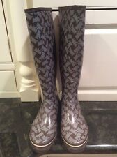 Juicy Couture Tall Brown Scotty Rain Boots, Size 8. Nice!