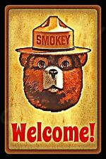 WELCOME SMOKEY BEAR U.S. FOREST SERVICE METAL SIGN 8X12 RUSTIC LOG CABIN LODGE