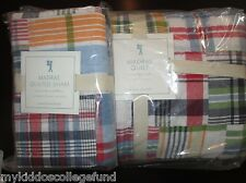 NWT Pottery Barn Kids Madras navy twin quilt & standard sham red orange