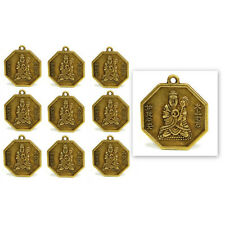 "LOT OF 10 BUDDHA FENG SHUI CHARMS 1"" Chinese Brass Pendant Bagua Good Luck Set"