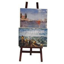 Dolls House Miniature Accessory Artist's Easel Stand & 2 Wood Paintings Pictures