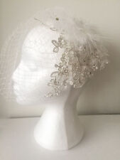 EVA Birdcage Veil Feather Rhinestone Blusher Wedding Fascinator Net Lace